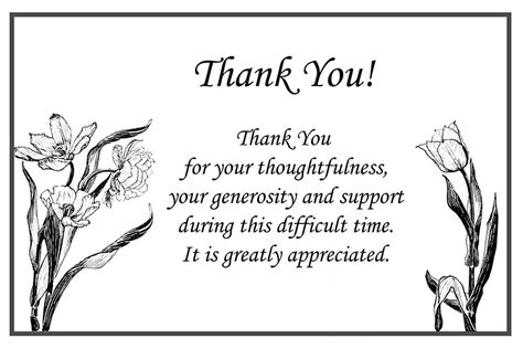 thank you letter after funeral sle printable thank you cards free printable greeting cards