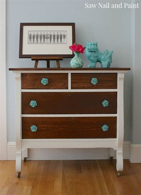 Two Tone Painted Dresser by Hometalk Two Tone Vintage Dresser