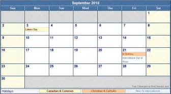 September 2018 Calendar With Holidays September 2018 Calendar With Holidays Calendar Template
