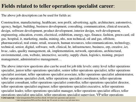Teller Operations Specialist Cover Letter by Teller Description Teller Resume Exle Bank Teller Resume Exle Sle Template