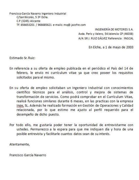 Modelo De Carta De Presentaci N De Un Curriculum modelo carta de presentacion design bild