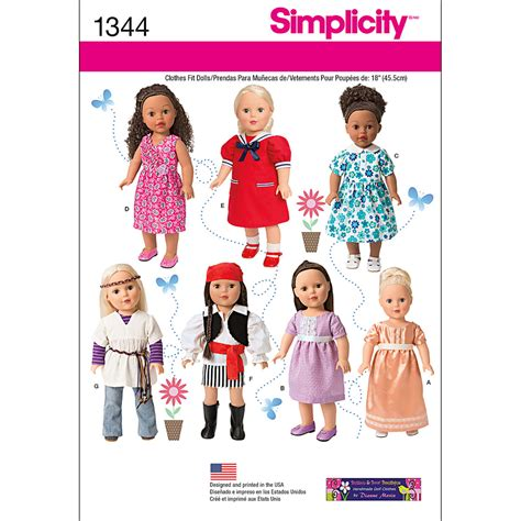 clothes pattern website simplicity pattern 1344os one size crafts doll clothes