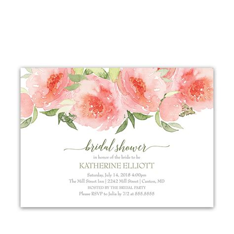 Floral Bridal by Coral Watercolor Floral Bridal Shower Invitations