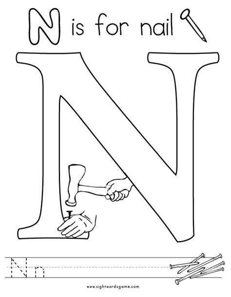Letter N Coloring Pages Free by Letter N Coloring Page 2 Letters Of The Alphabet