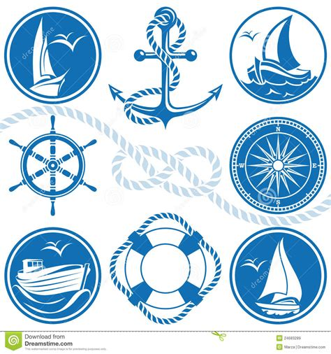 nautical symbols and icons stock vector illustration of
