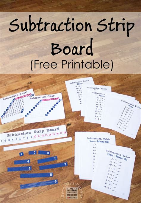 printable montessori addition strip board free printable subtraction strip board montessori
