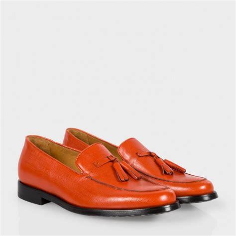 orange leather loafers lyst paul smith s burnt orange saffiano leather