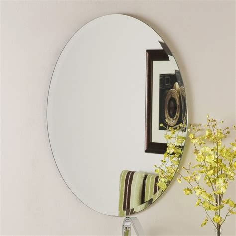 Frameless Mirrors For Bathroom Shop Decor Odelia 22 In X 28 In Oval Frameless Bathroom Mirror At Lowes