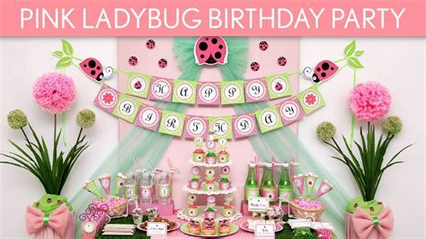 Pink Ladybug Birthday Party Ideas // Pink Ladybug   B114   YouTube
