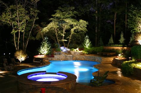 Beautiful Outdoor Lighting Around Pool And Landscape Ideas | landscape lighting