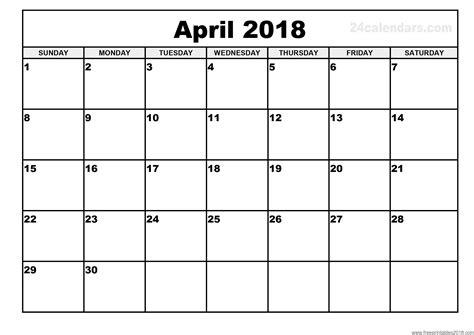 printable free calendar 2018 free printable calendar april 2018 free printables 2018