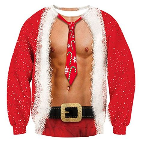 Raisevern Mens Ugly Christmas Sweater Funny Muscle Design