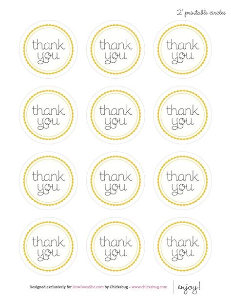 printable thank you tags pinterest 2 quot printable thank you circle tags craft ideas pinterest