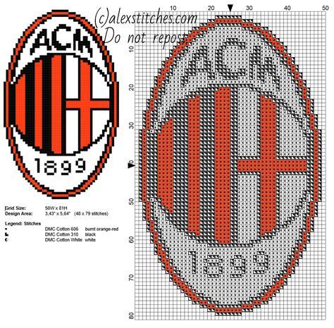 x pattern in c a c milan soccer team logo badge free cross stitch