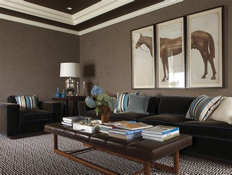 taupe grasscloth contemporary basement lewis interiors