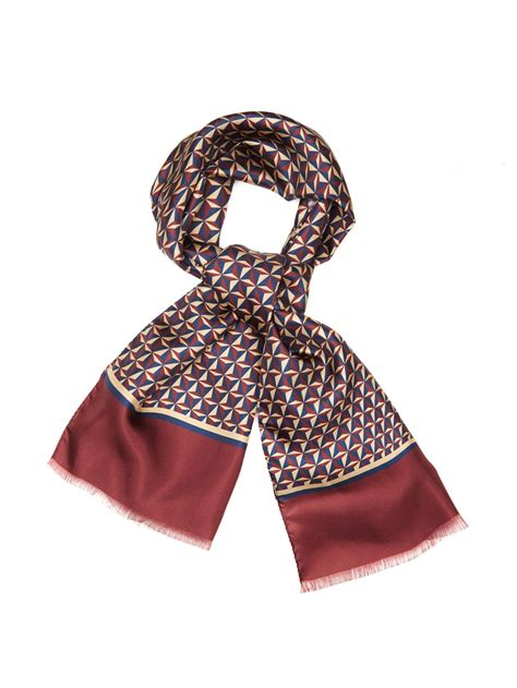 lyst faconnable geometric print silk scarf  purple  men