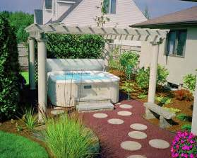 Landscaping area backyard design ideas with hot tub