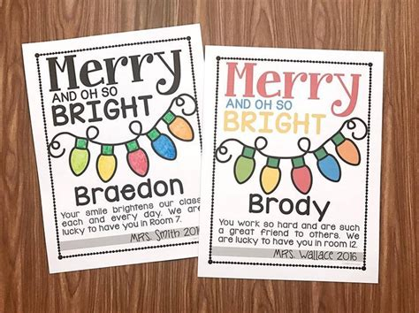 merry    bright note freebie student christmas gifts student gifts holiday classrooms