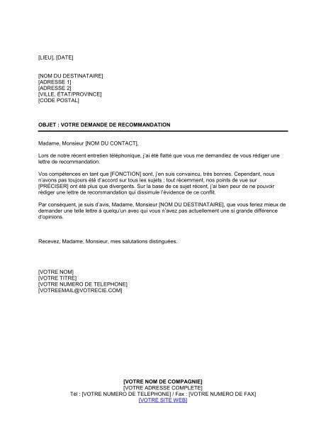 Lettre De Recommandation Negative Resume Format Lettre Reponse Cv Negative