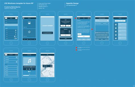 Axure Ios Templates Blueprint Style Ux Wireframes Pinterest Wireframe Template And Ios Wireframe Template
