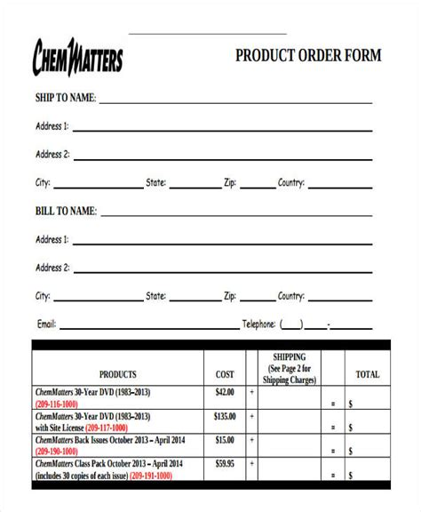 9 product order forms free sles exles format