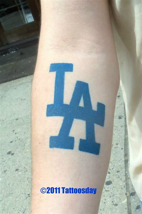la tattoos la dodgers logo tattoos