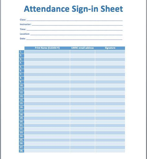 this attendance sign in sheet template is created using ms