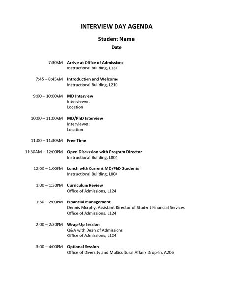 typical interview schedule graduate medical sciences