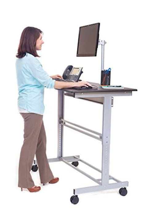stand up desk mobile adjustable height computer portable