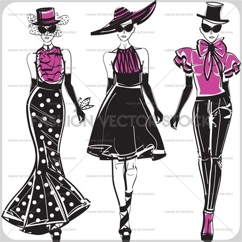 fashion illustration free on the catwalk fashion vector stock