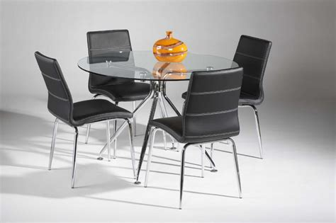 high class clear glass top leather dinette tables