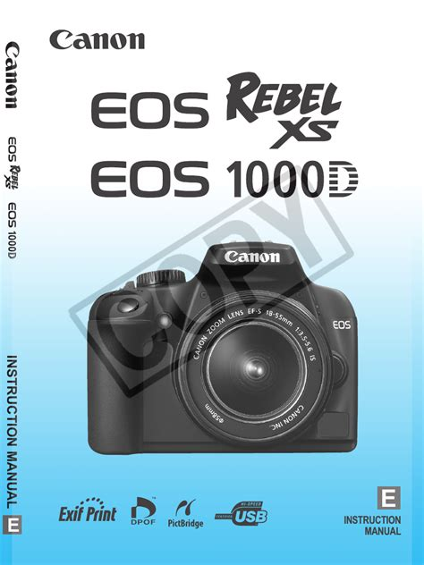Canon Eos Rebel Xs User Manual 196 Pages Also For Eos