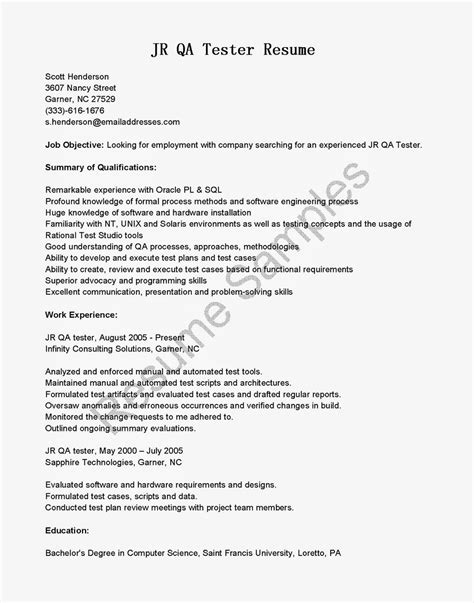 cover letter for qa tester resume sles jr qa tester resume sle