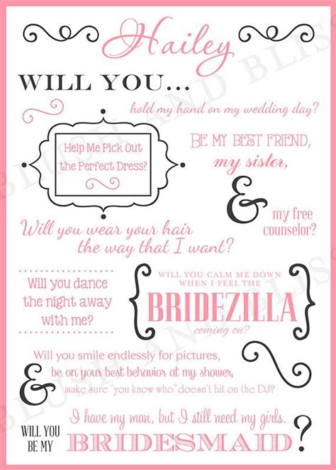 will you be my bridesmaid card template will you be my bridesmaid cards template