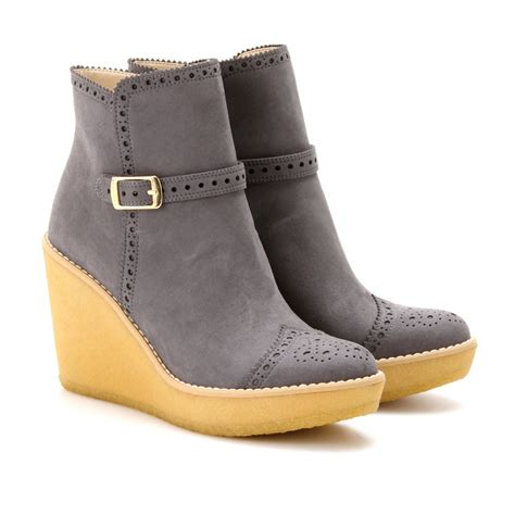 stella mccartney wedge ankle boots in gray lead lyst