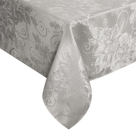 silver poinsettia damask stain release tablecloth