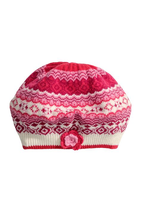 Sehm04 Set Hm Pink Flower Flower jacquard knit hat pink sale h m us