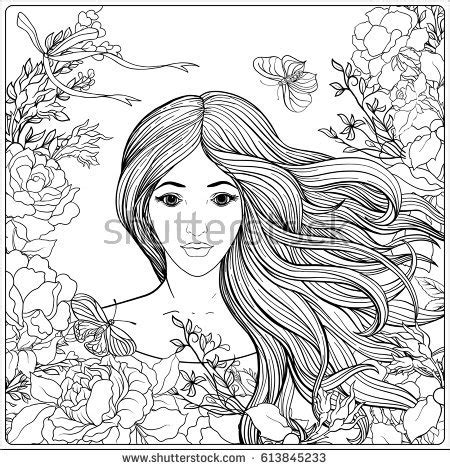 beautiful hair coloring pages hand drawn mermaid gold fish underwater stock vector
