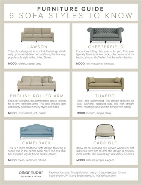 sofa styles guide 6 sofa styles to know infographic oskar huber
