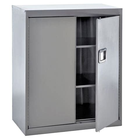 stainless steel garage storage cabinets sandusky 42 in h x 36 in w x 18 in d 3 shelf stainless