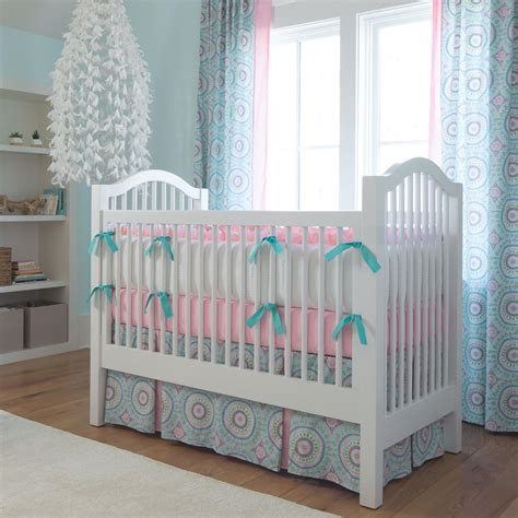 Aqua Haute Baby Crib Skirt Two Front Pleats Carousel Designs How Big Is A Baby Crib