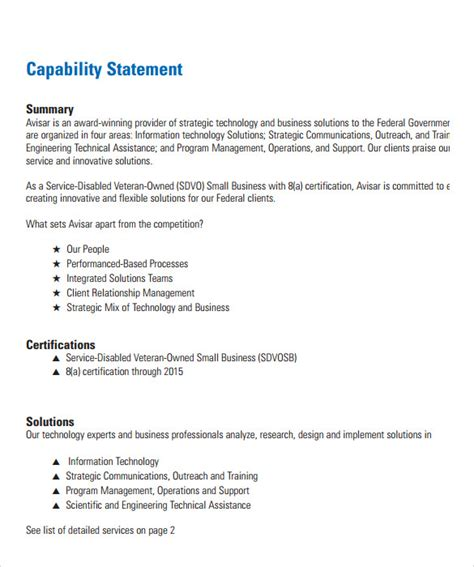 Sle Capability Statement Templates 14 Documents In Pdf Word Capability Statement Template Word