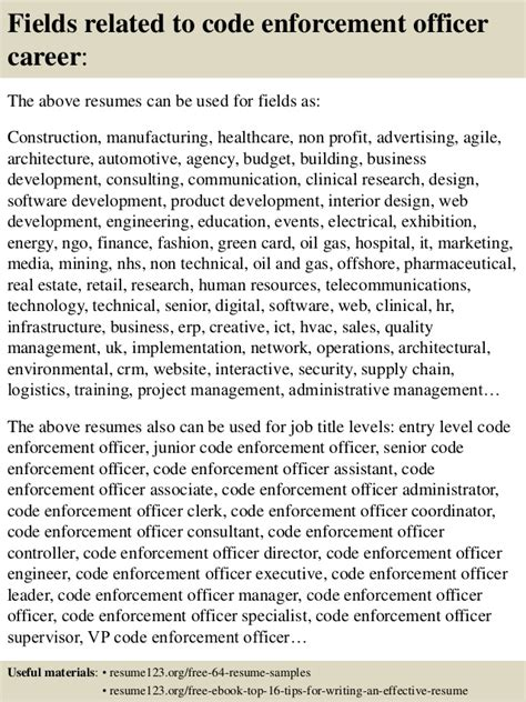 Enforcement Interest Letter Top 8 Code Enforcement Officer Resume Sles