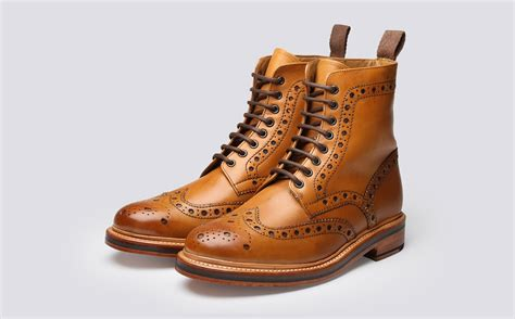 fred s brogue boot in calf leather with a
