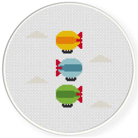 colorful stitches colorful blimps cross stitch pattern daily cross stitch