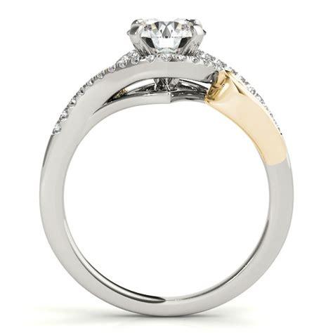 swirl engagement ring bridal set 14k two tone gold 0 36ct