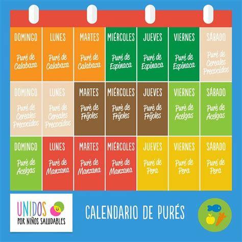 Calendario De Meses Calendario De Pures 6 Meses Comida Bebe