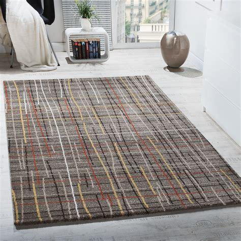 design teppiche wohnzimmer teppich kurzflor gitternetz optik mehrfarbig