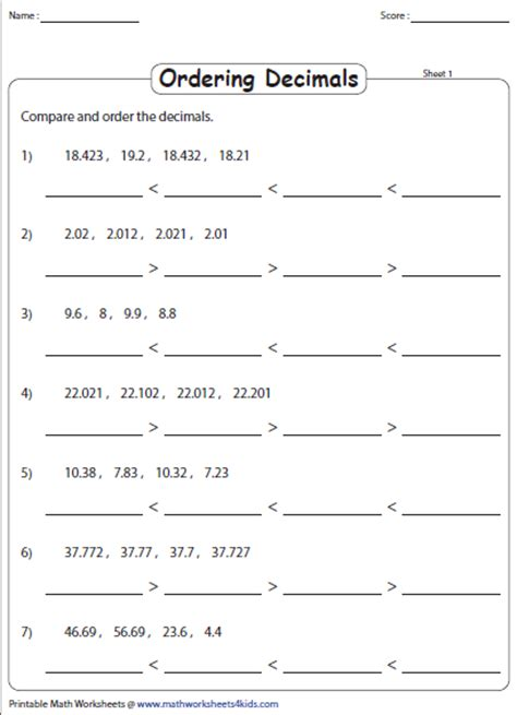 Ordering Decimals Least To Greatest Worksheet ordering decimals worksheets