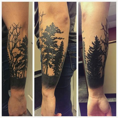 forest silhouette tattoo tattoos org forest silhouette half sleeve eric diversity